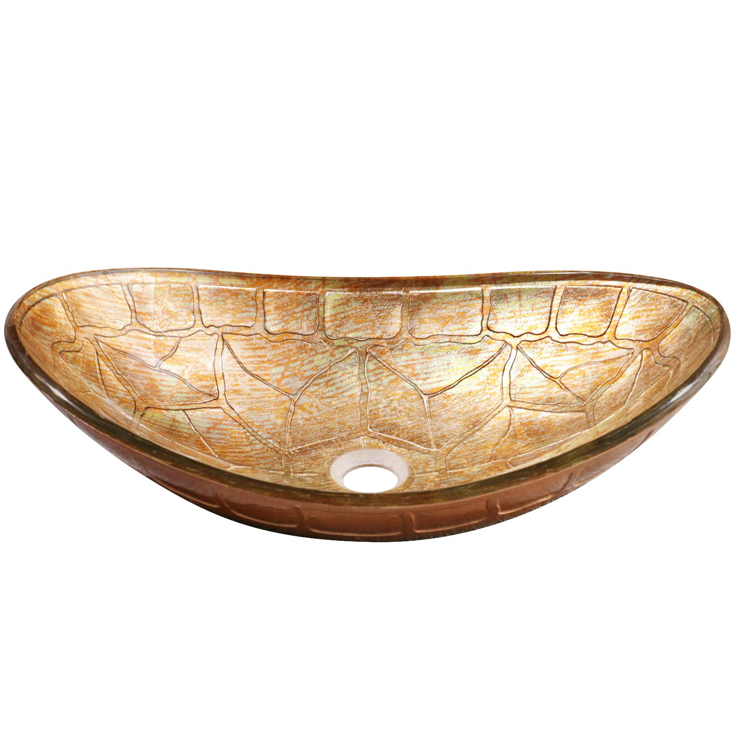 Enbol EGS-L0082 Unique Oval Tortoise Shell Pattern Artistic Tempered Glass Bathroom Above Counter Vessel Vanity Sink Bowl Top Wash Basin Combo with Mounting Ring and Pop up Drain