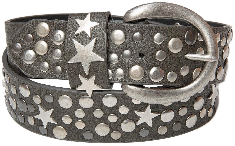 Stile breaker nietengürtel con stella in stile Vintage con vera pelle, accorciabile 03010010