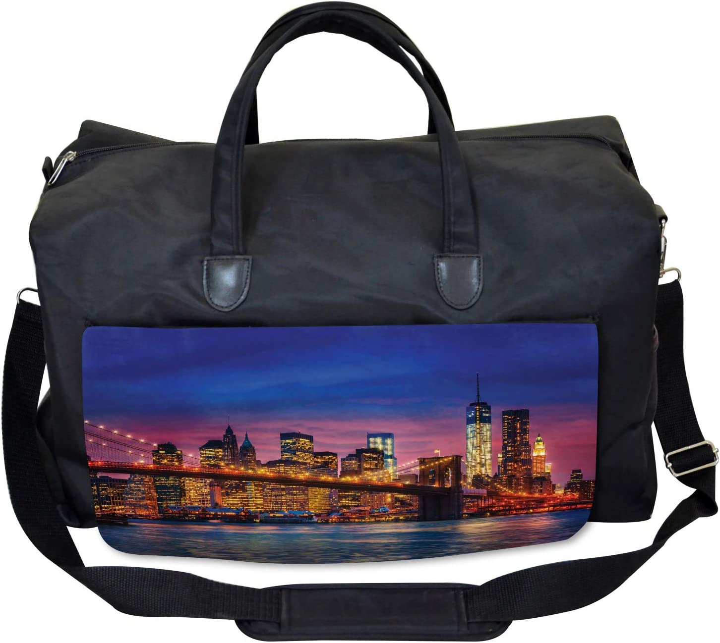 Large Weekender Carry-on Ambesonne Panorama Gym Bag NYC with Neon