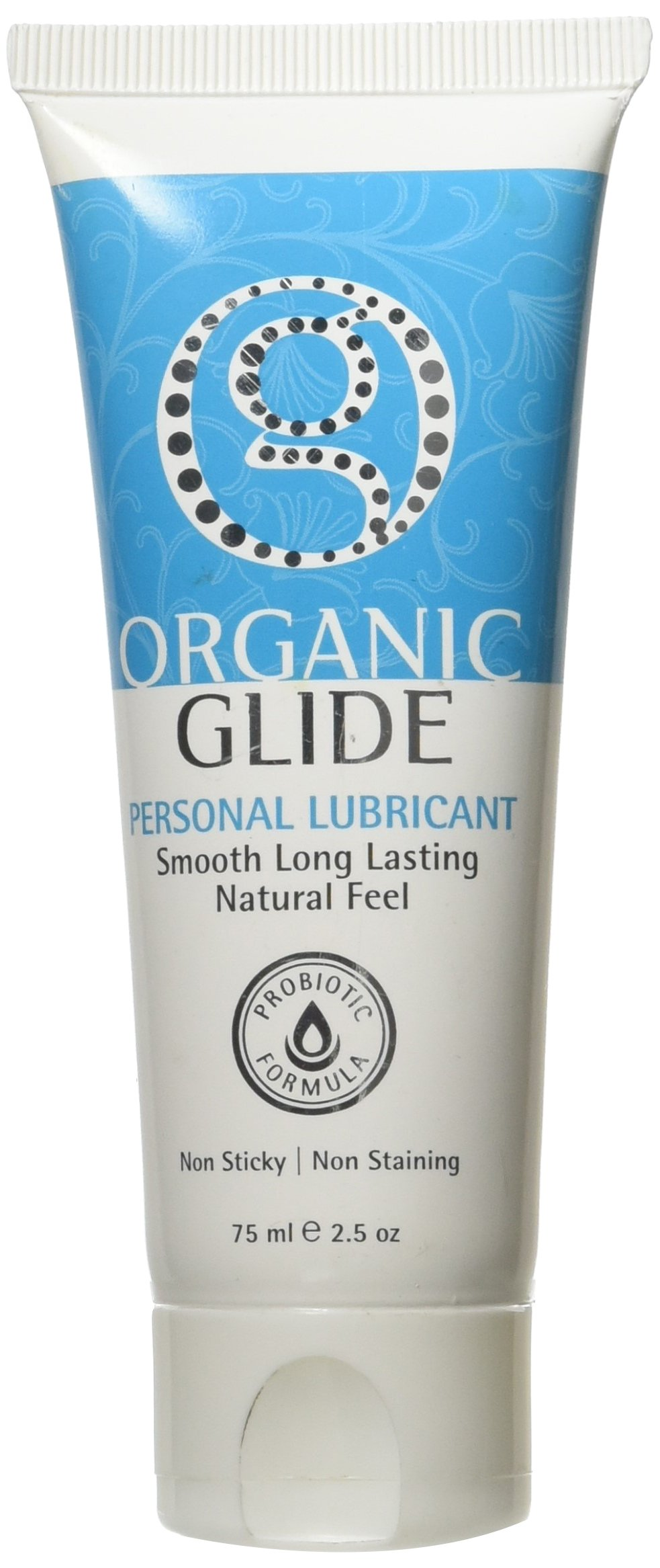 Organic Glide Probiotic All Natural Personal Lubricant 2.5oz Tube Edible Lube, FDA Cleared