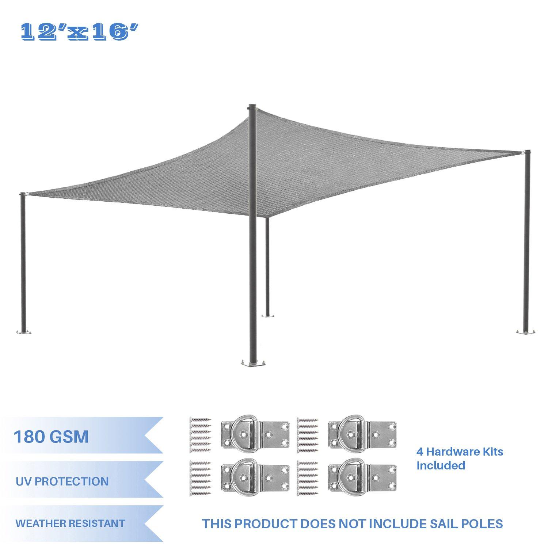 E&K Sunrise 12' x 16' Light Grey Sun Shade Sail Square Canopy - Included Pad Eyes -Permeable UV Block Fabric Durable Patio Outdoor
