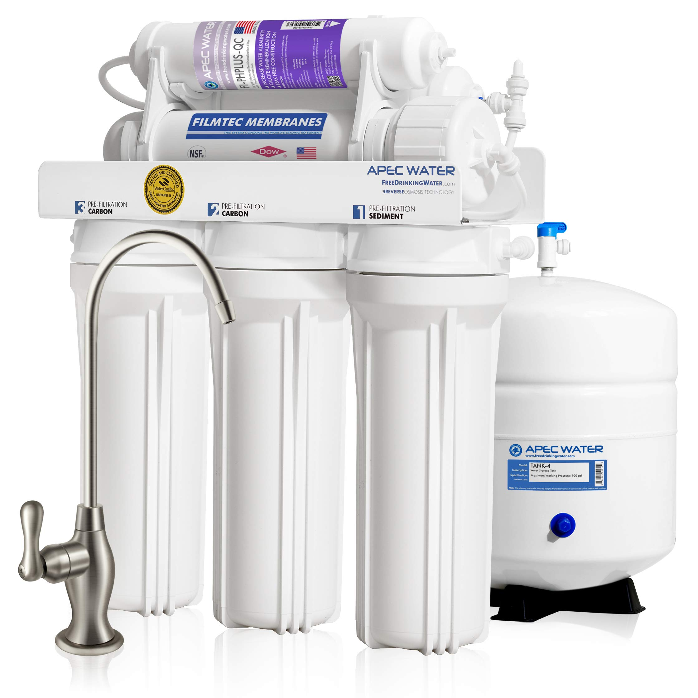 APEC Top Tier Supreme Certified Alkaline Mineral pH+ High Output 90 GPD 6-Stage Ultra Safe Reverse Osmosis Drinking Water Filter System