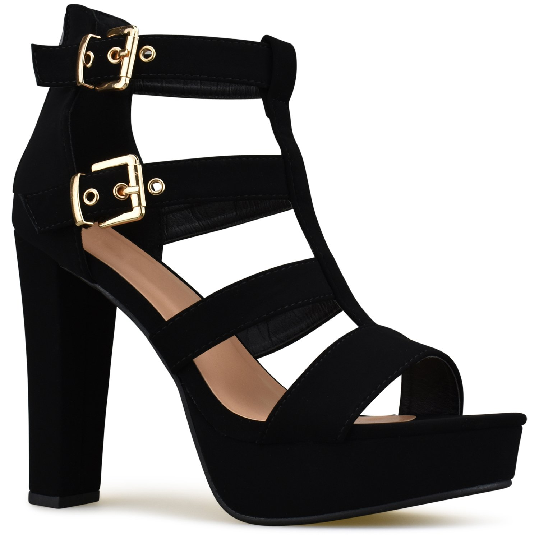 Premier Standard - Women's Platform Ankle Strap High Heel - Open Toe Sandal Pump - Formal Party Chunky Dress Heel, TPS Heels-74samoht Black Size 7