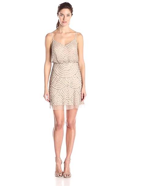 1920s Style Dresses, Flapper Dresses Adrianna Papell Womens Sleeveless V-Neck Blouson Beaded Cocktail Dress $351.44 AT vintagedancer.com