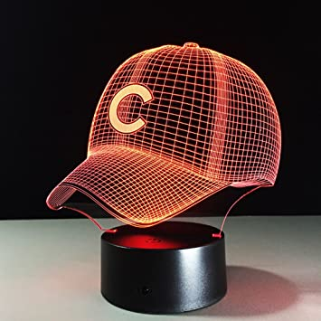 3D Illusion LED Night Lights,Baseball Cap C 7 Colors Touch Switch USB Charging for