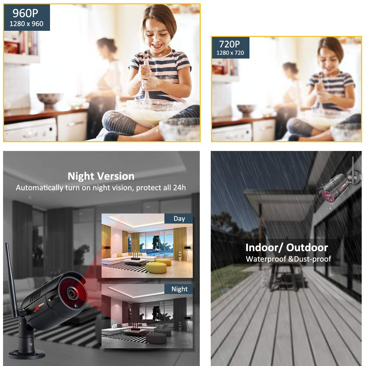 Wifi Security Camera System 4ch 960p Indoor Outoodr Dvr Dan Monitor 10inch 1080p Wirelss With 1tb Hdd Home 65ft Night Vision