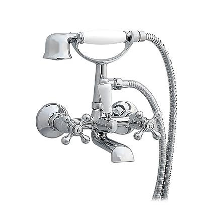 ENKI Miscelatore a parete per vasca da bagno doccetta a croce ...