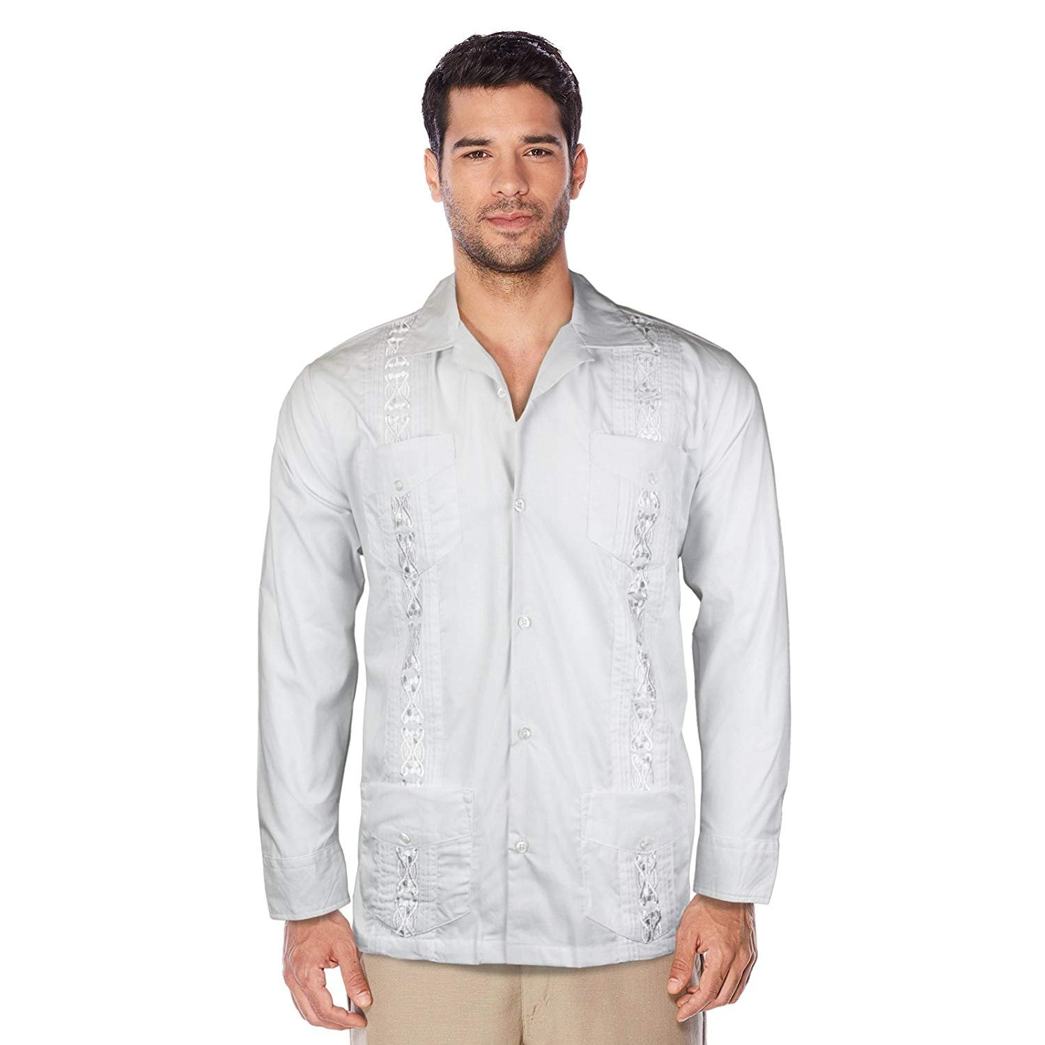 Maximos USA Guayabera Men's Cuban Beach Wedding Long Sleeve Button-up Casual Dress Shirt (White, 5XL)