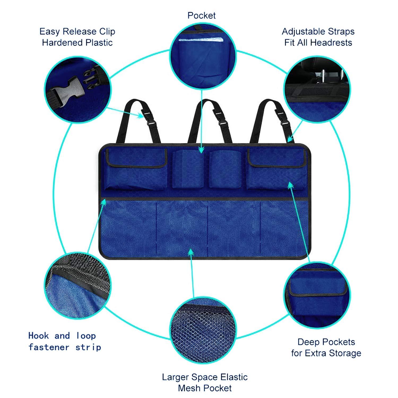 Backseat Organizer Auto Trunk Storage Bag Space Saving Car Organizer Back Seat Interior Accessories Mesh Pockets for SUV Vehicle Truck Van Black