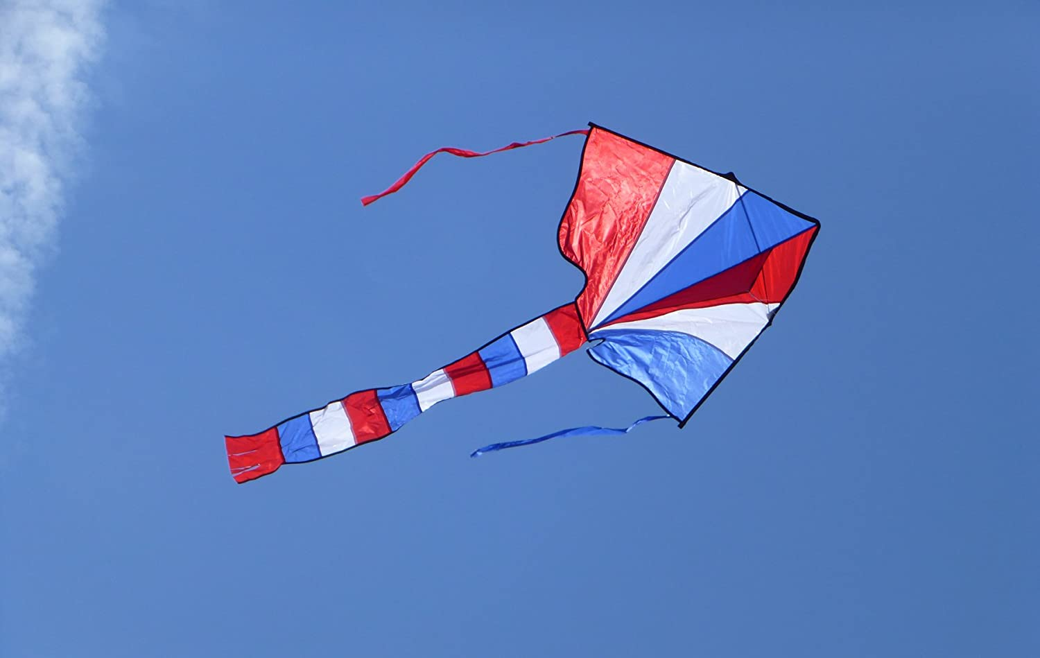 Includes Kite Line and Bag In the Breeze Red Single Line Ripstop Fabric Great Beginner Kite White /& Blue 46 Inch Fly-Hi Delta Kite