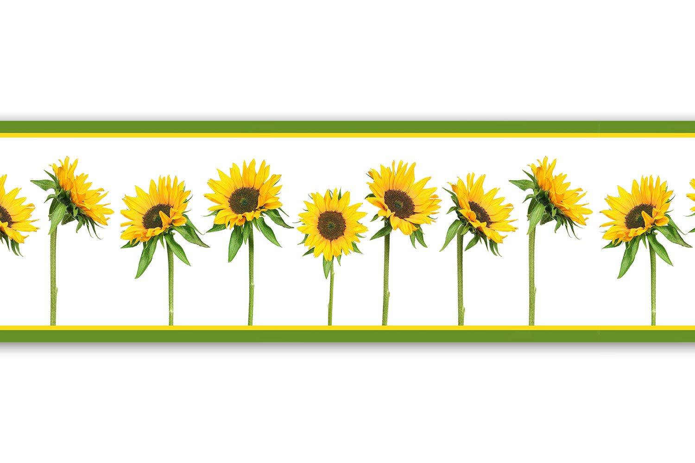 Selbstklebende Bordü re 'Sonnenblumen', 4-teilig 560x15cm, Tapetenbordü re, Wandbordü re, Borte, Wanddeko,Sonne, Garten wandmotiv24