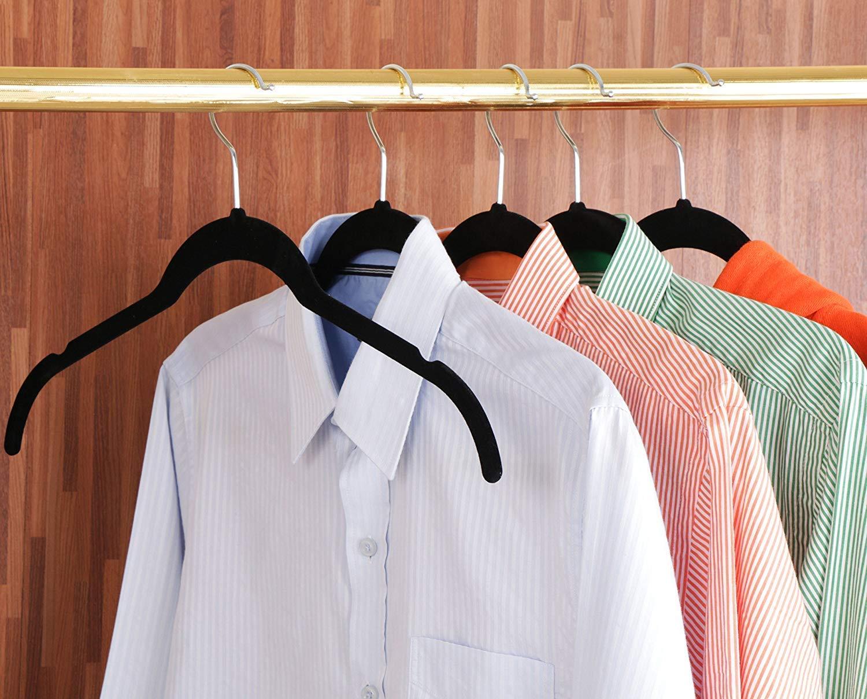Perchas para camisas de terciopelo Perchas de terciopelo antideslizantes Negro 50 Paquete Utopia Home