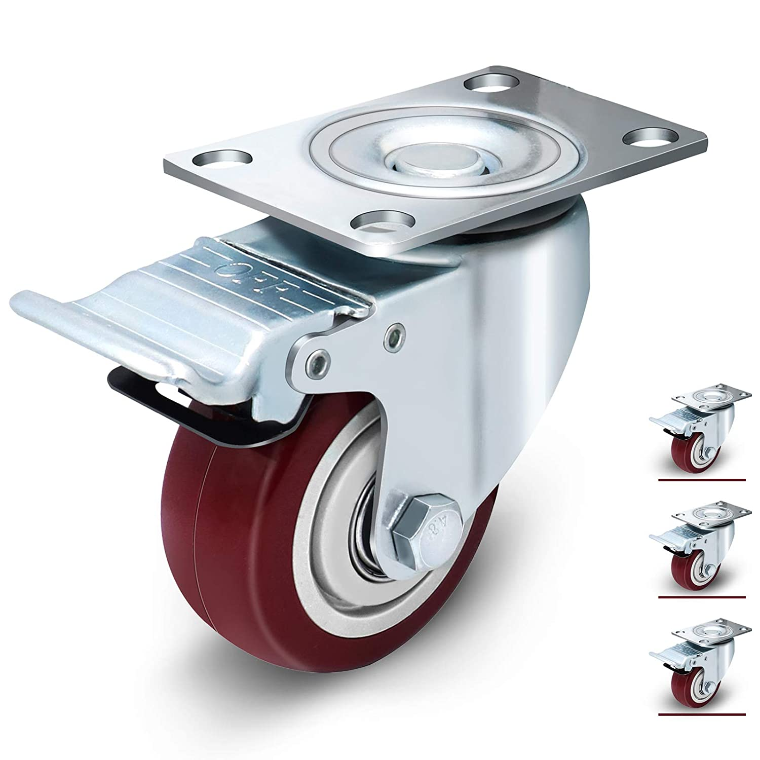3 inch Heavy Duty Casters Set of 4 With Brake, Dual Locking Swivel Casters Load 1200lbs, Swivel Plate Caster Wheels for Workbence and Furniture (Free M8 Screws and Spanner)