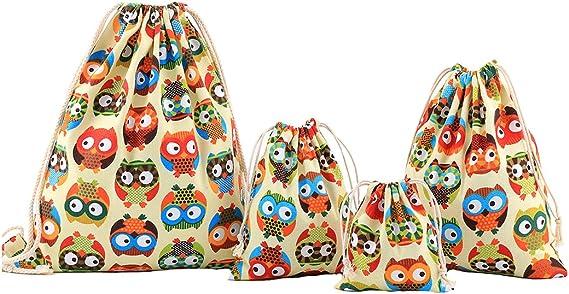 Amoyie - Bolsas de Tela 4 Piezas, Mochila de Cuerda + 3 Bolsos del almacenaje Organizador para Maleta, Color búho: Amazon.es: Equipaje