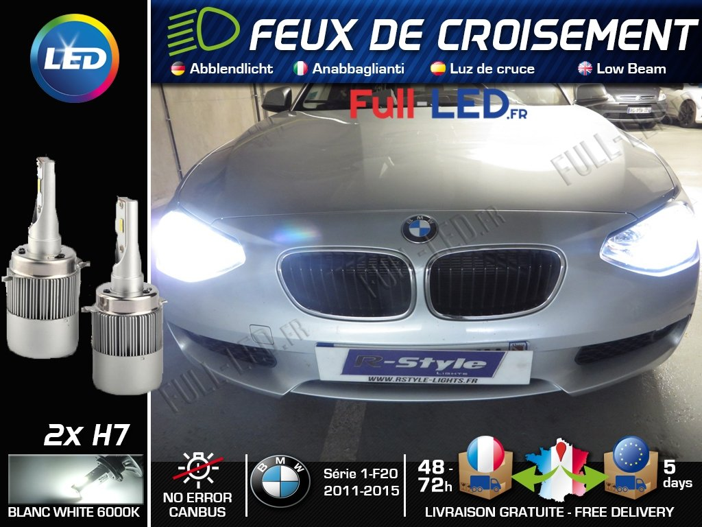 Ampoules LED H7 - Spé cial BMW Sé rie 1 F20 F21 - Feux de croisement MyAutoLight
