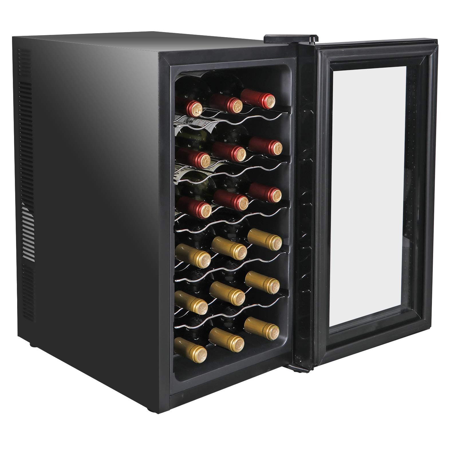 SUPER DEAL Pro 18-Bottle Thermoelectric Wine Cooler Red White Wine Champagne Chiller Counter Top Wine Cellar - Digital Temperature Control - LED Interior Lighting - Quiet and Vibration Free (PRO)