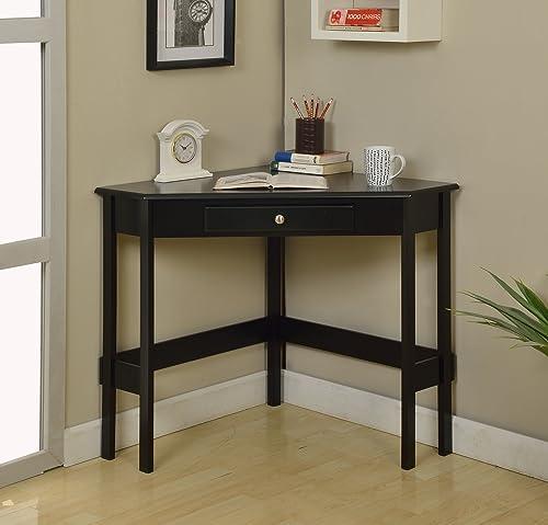 Kings Brand Furniture Wood Corner Desk with Drawer Black