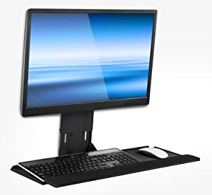 Mount-It! Monitor and Keyboard Wall Mount, Height Adjustable Standing VESA Keyboard Tray, 25 Inch Wide Platform with Mouse Pad (MI-7915)