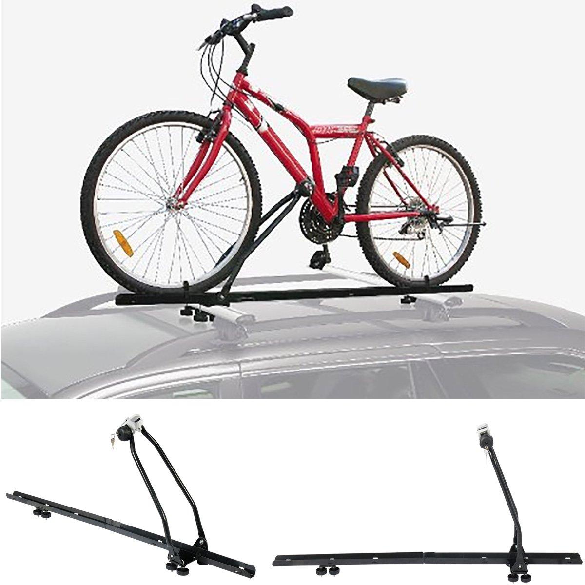 Woltu 4X Portabicicletas Baca Techo Soporte para Auto Coche barandilla Bicicleta Bike con Cerradura Hierro FZU1118-4