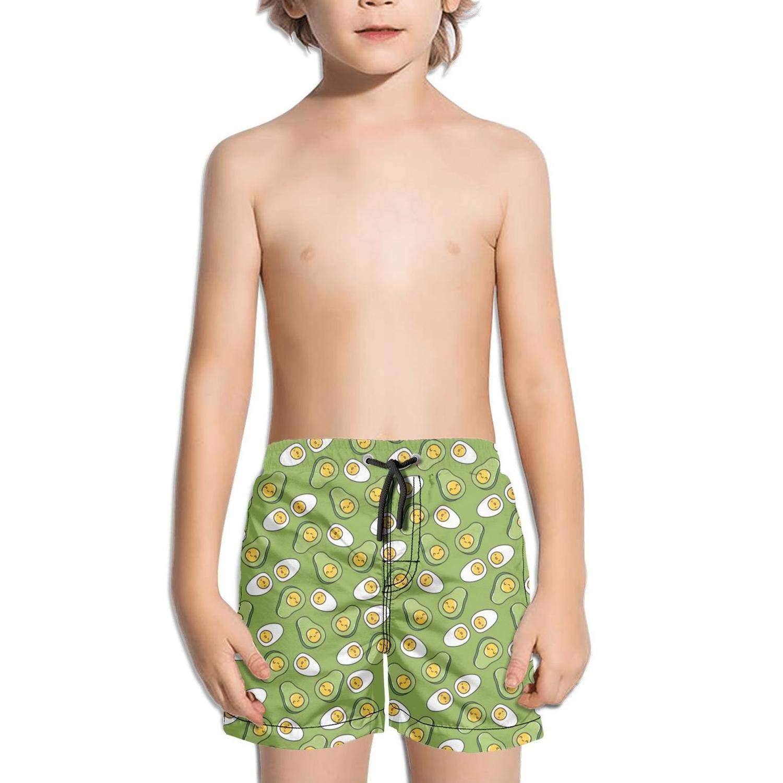 Voslin Kids Unisex Avocado Cute Smile Face Beach Swim Trunks Quick Drying Drawstring Shorts