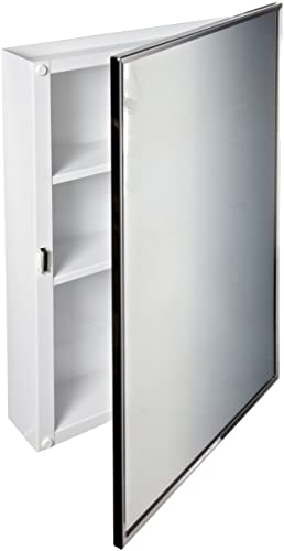 Bobrick 297 Steel Surface-Mounted Medicine Cabinet, Baked White Enamel Finish, 3-3 4 Depth, 2 Shelves