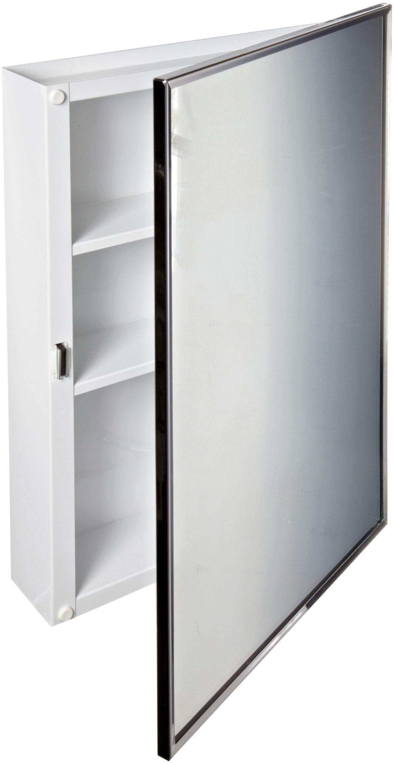 Bobrick 297 Steel Surface-Mounted Medicine Cabinet, Baked White Enamel Finish, 3-3/4'' Depth, 2 Shelves