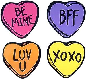 Heart Fridge Magnet Valentine's Day Locker Decor Sayings Magnetic Decal for Fridge or Car, Set of 4