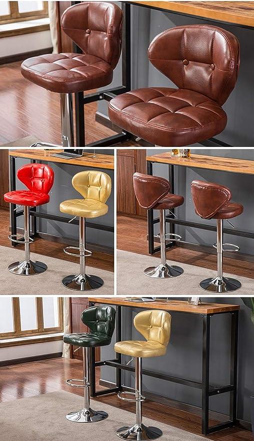 WQZB-Silla giratoria Silla Barstools con asiento de poliuretano elevador de gas giratorio ajustable, altura 38-54 cm para el desayuno de la cocina ...