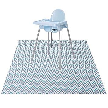 53 X 53 Anti-Slip Silicone Spot Splash Mess Mat -Food Catcher Art Craft Leak-Free Mat,Grey Mat Paw Legend Washable Highchair Splat Floor Mat