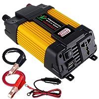 GUOXIN Wechselrichter 12V auf 230V 1000W DC auf AC KFZ Spannungswandler Konverter mit LED Batterieanzeige Dual USB-Ladegerät 4,2 A (Gelb)
