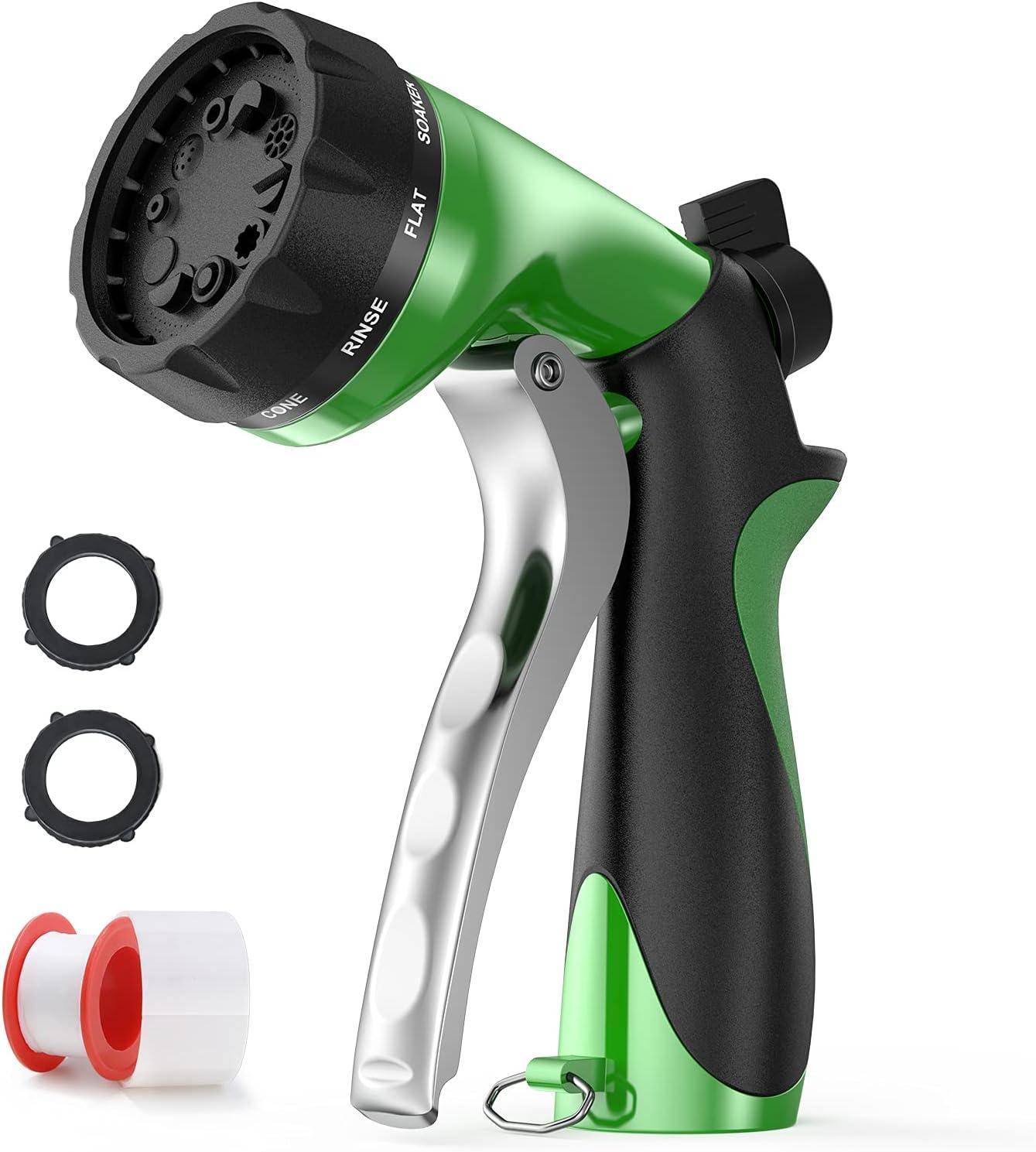 Snowpink Garden Hose Nozzle, Hose sprayer Nozzle, 3/4 Inch Garden Water Hose Nozzle Heavy Duty with 10 Adjustable Spray Patterns, Flow Control, Garden Hose Spray Nozzle for Hose(Green)