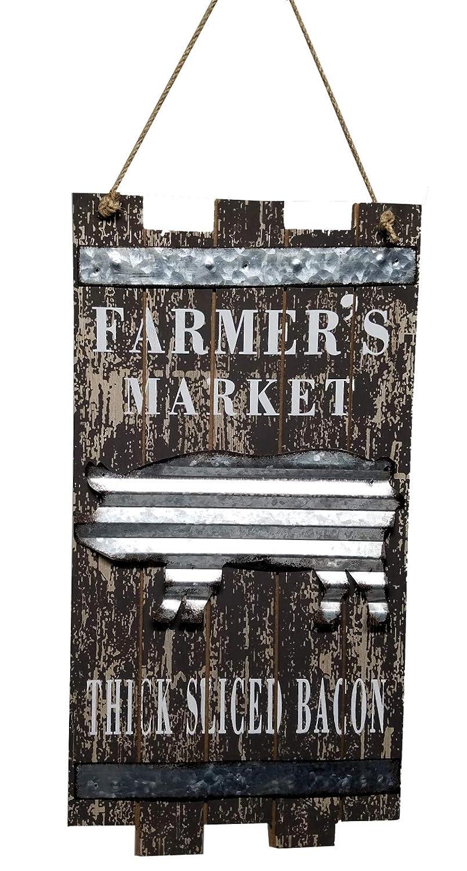 CW&T Farmhouse Kitchen Decor Wood and Tin Farmer's Market Sign (Pig)