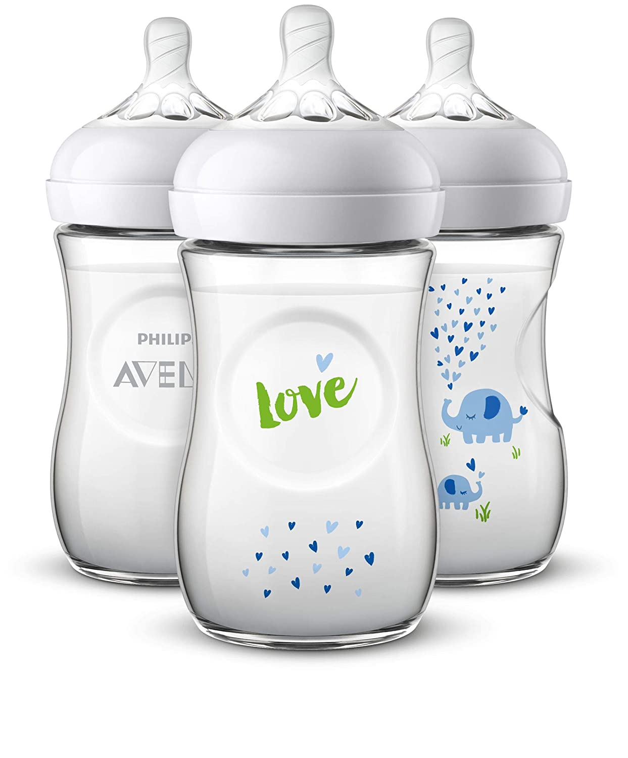 Philips Avent Natural Baby Bottle with Blue Elephant Design, 9oz, 3pk