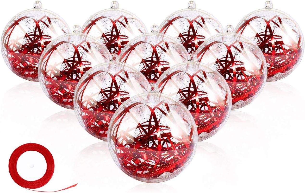 Gifort 20 Piezas Bolas de plástico Transparente 8cm, Bolas Transparentes para Rellenar, DIY Adornos Plástico de Árbol Navidad Personalizadas para Manualidades Decoración del Festival Fiesta (Gold)
