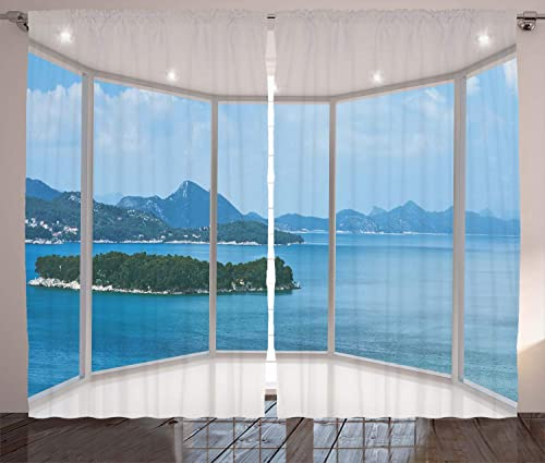 Best window curtain panel: Ambesonne Landscape Curtains