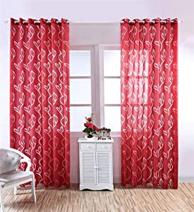 Neecan White Black Curtains for Living Room 84 Inch Length Leaf Print Semi-Sheer Curtains for Bedroom Windows,Grommet Top,1 Pack. Red 52Wx84L