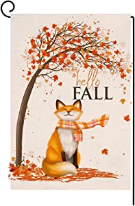 BLKWHT Fall Fox Small Garden Flag 12x18 Inch Vertical Double Sided Autumn Thanksgiving Maple Leaves Burlap Yard Outdoor Decor BW061