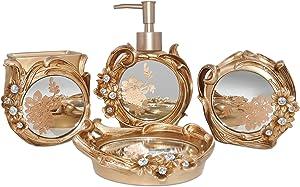 Swallow Bros Gold Bathroom Accessories Set 4 Piece - Soap Dish, Tumbler, Soap Dispenser, Toothbrush Holder, Vintage Bathroom Decor