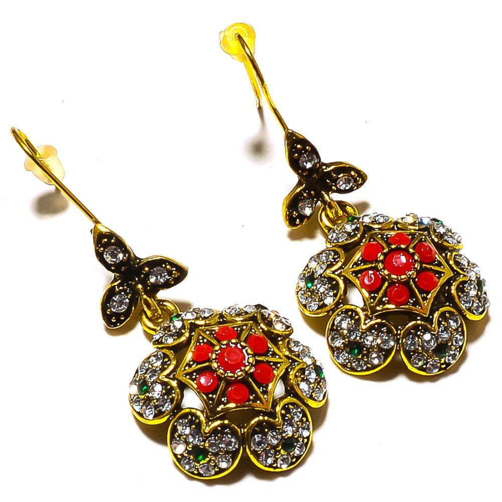 Dyed Emerald Brass Metal Earring 1.5 Turkish Style Handmade Jewelry Red Dyed Ruby