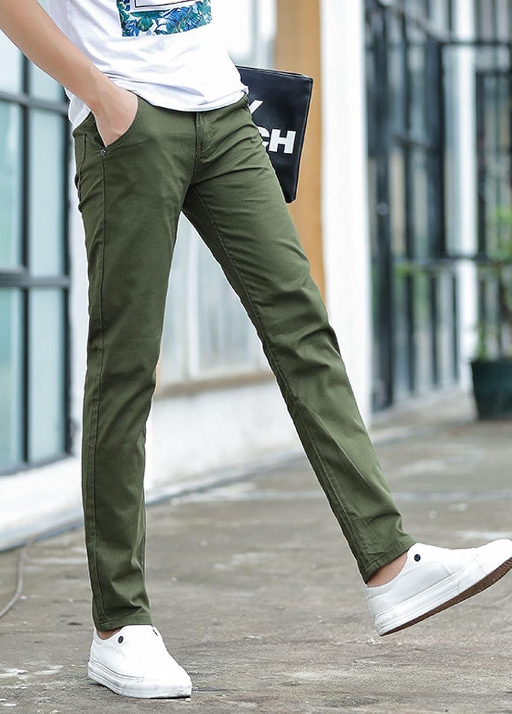 e50e1580df39a4 Amazon | ADCRAS (アドクラス) メンズ スキニー パンツ チノパン タイト ズボン 無地 カラー 種類有り | ロングパンツ 通販