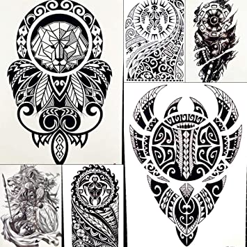 1074c267b154a Lion King Warrior Temporary Tattoo Stickers Men Robot Arm Fake Waterproof  Maori Tattoos Body Art Black
