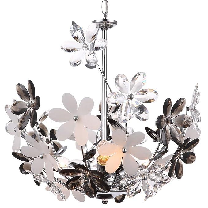 Design Chrom Blüten Pendel Leuchte Wohn Zimmer Decken Hänge Beleuchtung Blumen