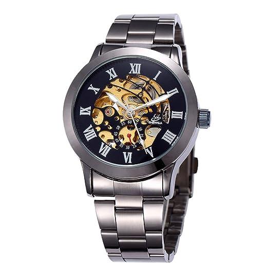 Amazon.com: SHENHUA Reloj Hombres Oro Automático Esqueleto ...