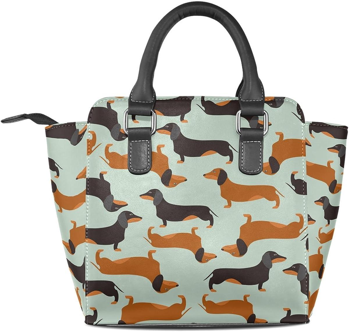 Use4 Funny Colorful Dinosaur Rivet PU Leather Tote Bag Shoulder Bag Purse