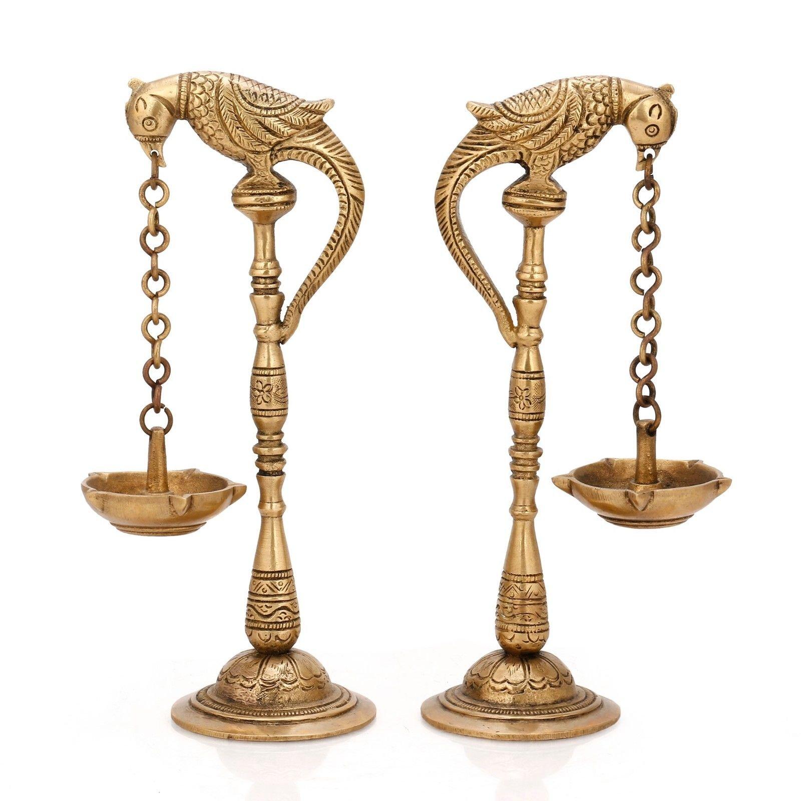 Pair of Bird Diya Oil Lamp Stand Holder Brass Hindu Religious Puja Art Fengshui Gifts
