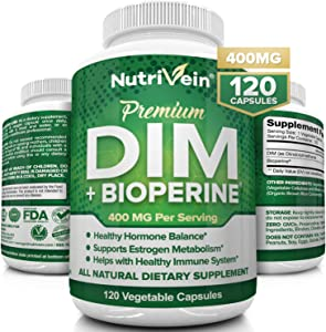 Nutrivein DIM Supplement 400mg Diindolylmethane Plus Bioperine - Maintain Hormone Balance with Estrogen for Menopause and Middle Age - Supports Acne and PCOS Treatment Men & Women