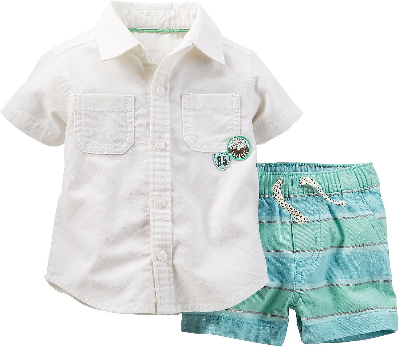 Newborn Baby Ivory Carters Baby Boys Woven Shirt Set