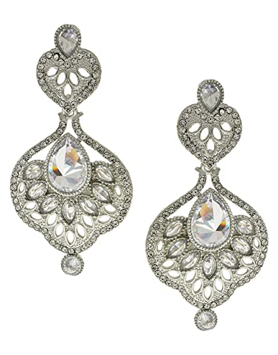 5ec352858b2aaa Buy Anuradha Art Silver Tone Very Classy Designer Studded with White Stones  Western Earring/Traditional Earring for Womens Girls Online at Low Prices  in ...