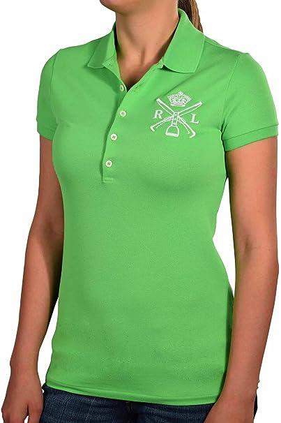 Ralph Lauren Logo escudo del mazo mujeres moda Polo camisa - Verde ...