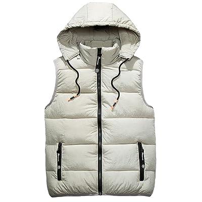 DeBangNi メンズ ダウンベスト 冬 厚手 暖かい チョッキ ノースリーブ フード付き 無地 シンプル ダウンコート 韓国 ファッション スリム  アウター 防寒 カップル